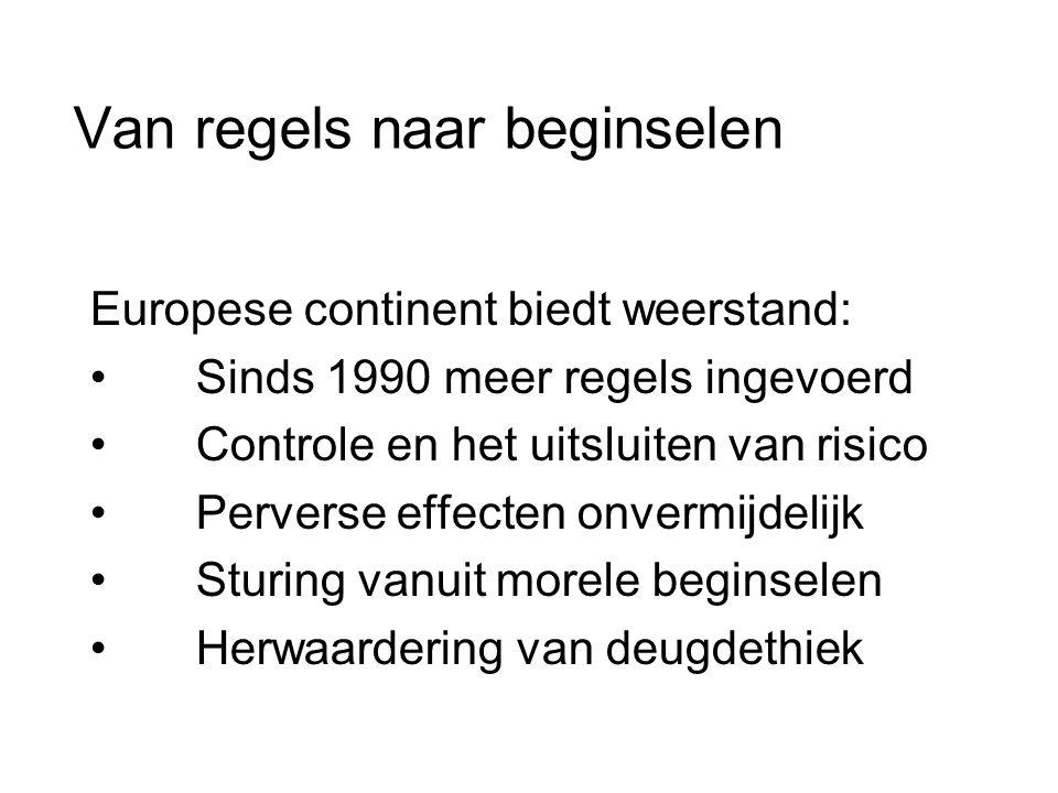 Van regels naar beginselen Europese continent biedt weerstand: • Sinds 1990 meer regels ingevoerd • Controle en het uitsluiten van risico • Perverse effecten onvermijdelijk • Sturing vanuit morele beginselen • Herwaardering van deugdethiek