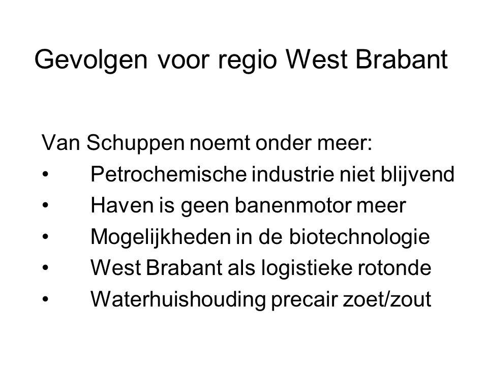 Gevolgen voor regio West Brabant Van Schuppen noemt onder meer: • Petrochemische industrie niet blijvend • Haven is geen banenmotor meer • Mogelijkheden in de biotechnologie • West Brabant als logistieke rotonde • Waterhuishouding precair zoet/zout