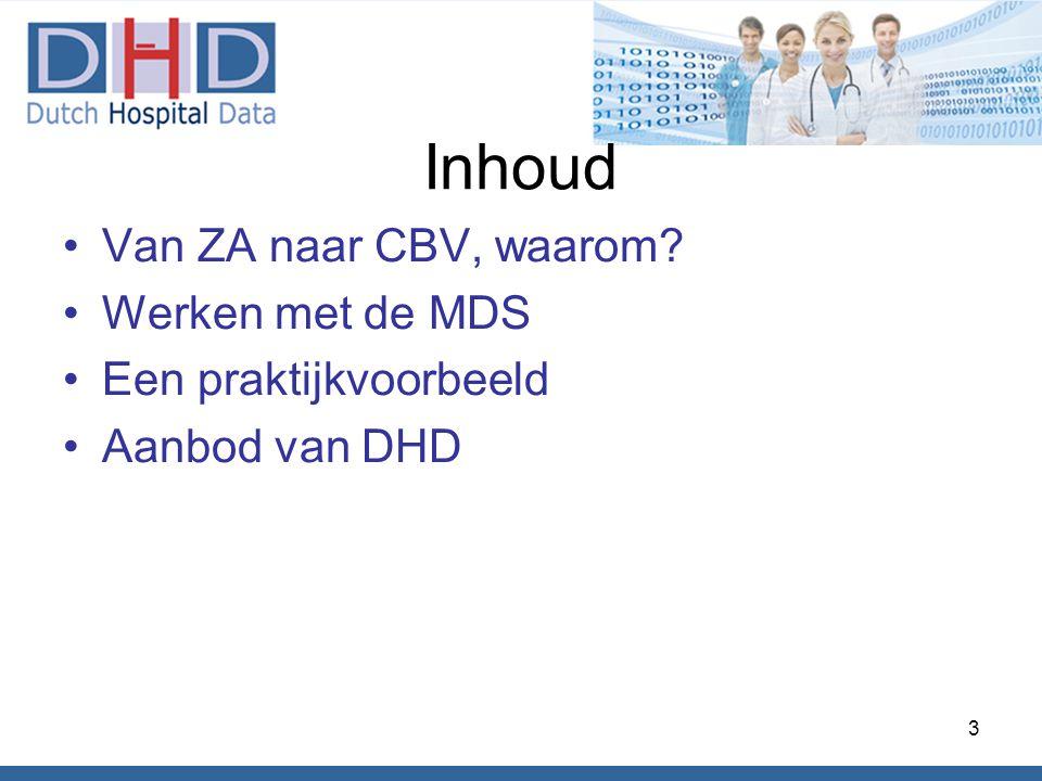 Inhoud •Van ZA naar CBV, waarom? •Werken met de MDS •Een praktijkvoorbeeld •Aanbod van DHD 3