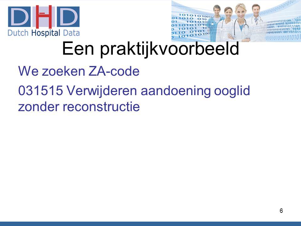 Een praktijkvoorbeeld We zoeken ZA-code 031515 Verwijderen aandoening ooglid zonder reconstructie 6