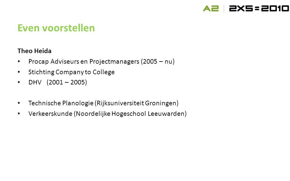 Theo Heida • Procap Adviseurs en Projectmanagers (2005 – nu) • Stichting Company to College • DHV(2001 – 2005) • Technische Planologie (Rijksuniversiteit Groningen) • Verkeerskunde (Noordelijke Hogeschool Leeuwarden) Even voorstellen