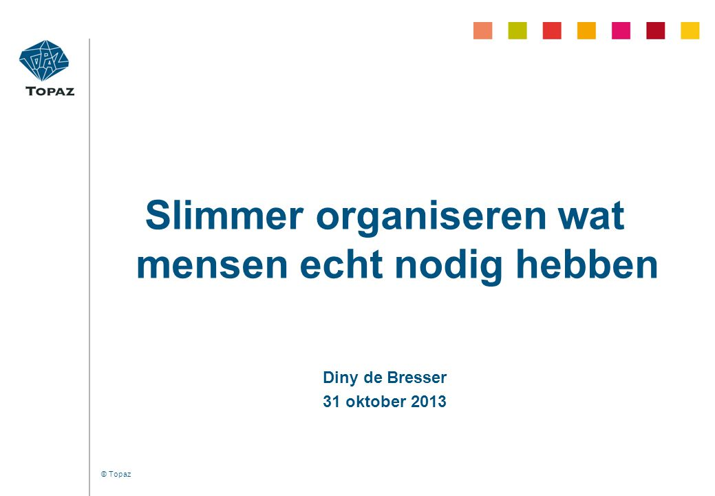 © Topaz Slimmer organiseren wat mensen echt nodig hebben Diny de Bresser 31 oktober 2013