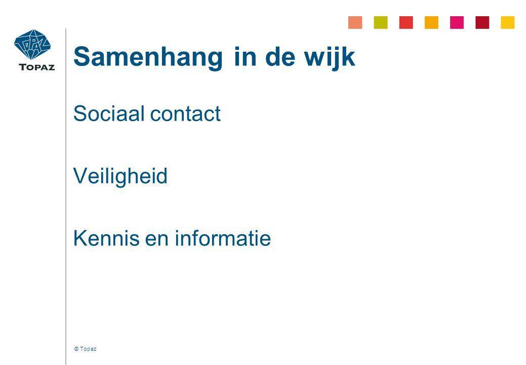 © Topaz Samenhang in de wijk Sociaal contact Veiligheid Kennis en informatie