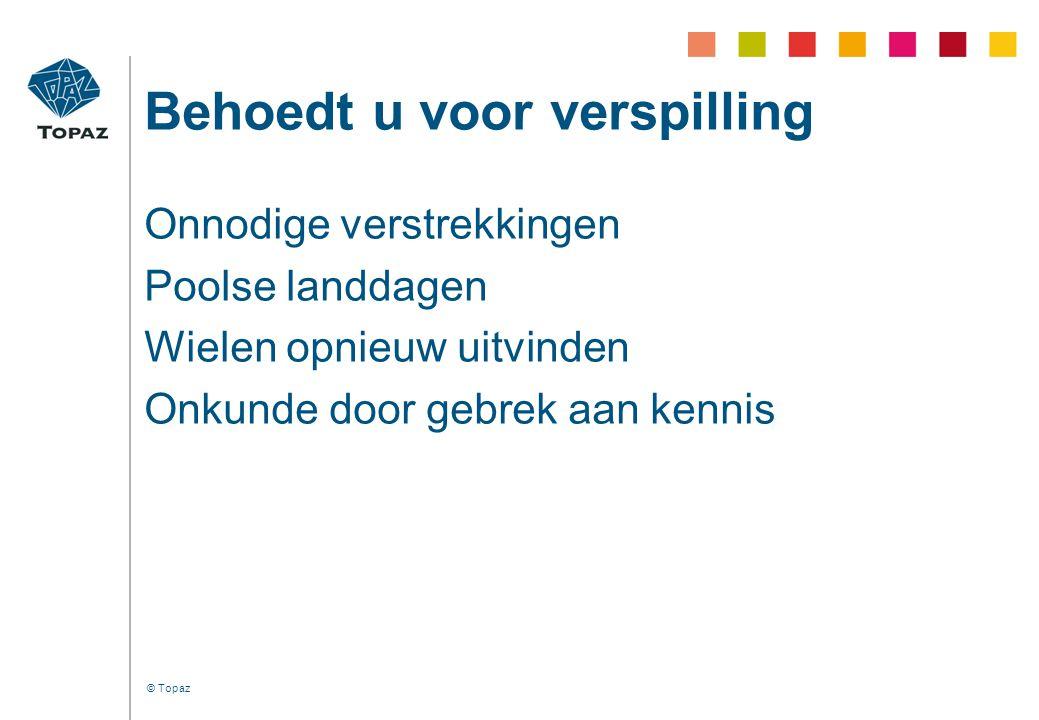 © Topaz Organiseer een vangnet •Vertrouwen voor het geval dat..