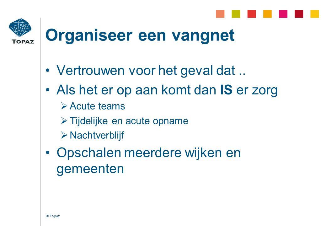 © Topaz Organiseer een vangnet •Vertrouwen voor het geval dat.. •Als het er op aan komt dan IS er zorg  Acute teams  Tijdelijke en acute opname  Na