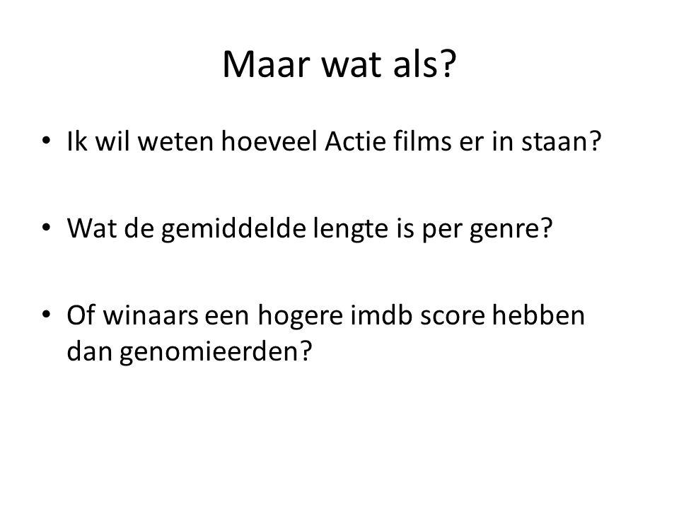 Maar wat als? • Ik wil weten hoeveel Actie films er in staan? • Wat de gemiddelde lengte is per genre? • Of winaars een hogere imdb score hebben dan g