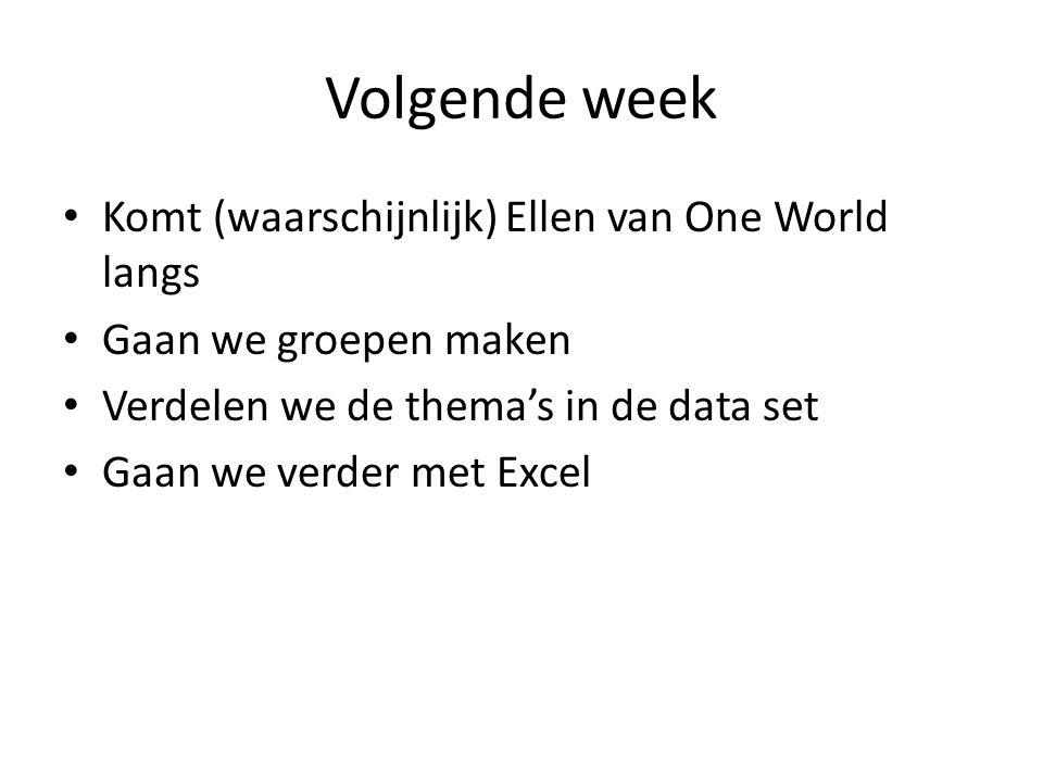 Volgende week • Komt (waarschijnlijk) Ellen van One World langs • Gaan we groepen maken • Verdelen we de thema's in de data set • Gaan we verder met E