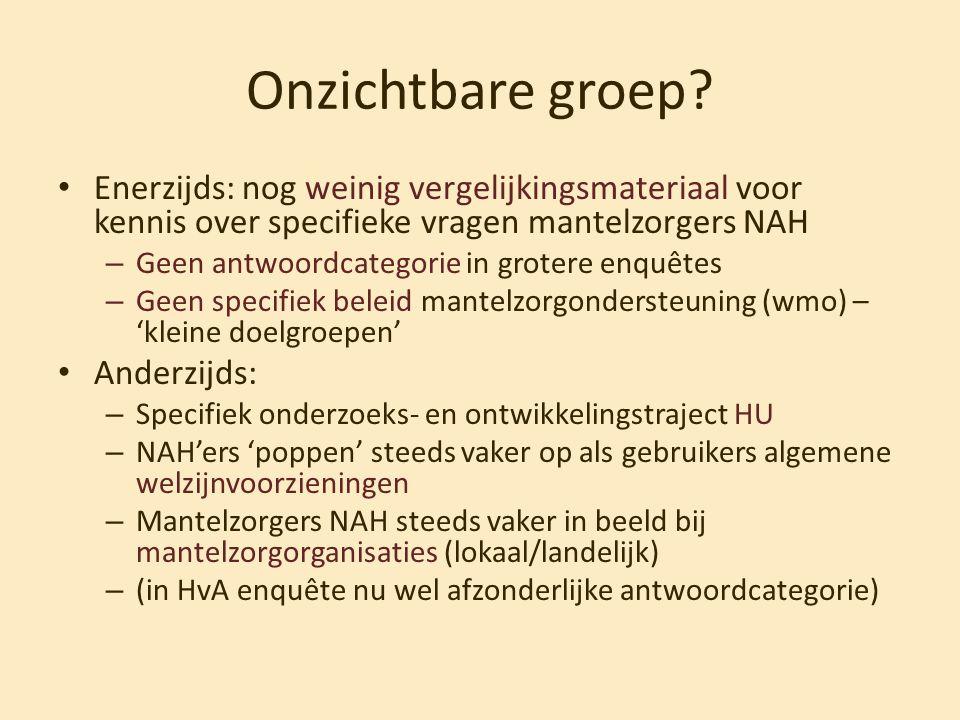 Onzichtbare groep? • Enerzijds: nog weinig vergelijkingsmateriaal voor kennis over specifieke vragen mantelzorgers NAH – Geen antwoordcategorie in gro