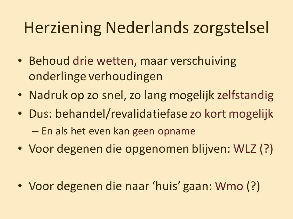 Herziening Nederlands zorgstelsel • Behoud drie wetten, maar verschuiving onderlinge verhoudingen • Nadruk op zo snel, zo lang mogelijk zelfstandig •