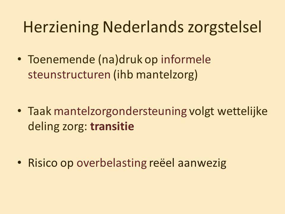 Herziening Nederlands zorgstelsel • Toenemende (na)druk op informele steunstructuren (ihb mantelzorg) • Taak mantelzorgondersteuning volgt wettelijke