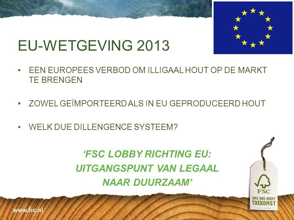 •EEN EUROPEES VERBOD OM ILLIGAAL HOUT OP DE MARKT TE BRENGEN •ZOWEL GEÏMPORTEERD ALS IN EU GEPRODUCEERD HOUT •WELK DUE DILLENGENCE SYSTEEM? 'FSC LOBBY