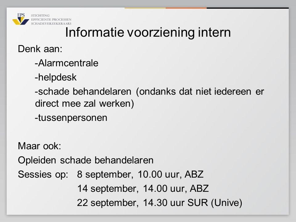 Informatie voorziening intern Denk aan: -Alarmcentrale -helpdesk -schade behandelaren (ondanks dat niet iedereen er direct mee zal werken) -tussenpers