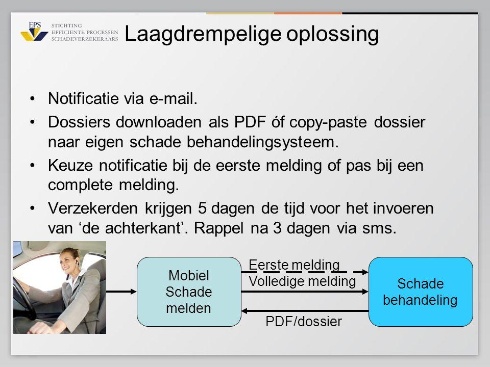 Laagdrempelige oplossing •Notificatie via e-mail. •Dossiers downloaden als PDF óf copy-paste dossier naar eigen schade behandelingsysteem. •Keuze noti
