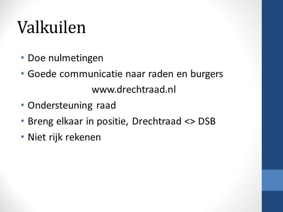 Valkuilen • Doe nulmetingen • Goede communicatie naar raden en burgers www.drechtraad.nl • Ondersteuning raad • Breng elkaar in positie, Drechtraad <> DSB • Niet rijk rekenen
