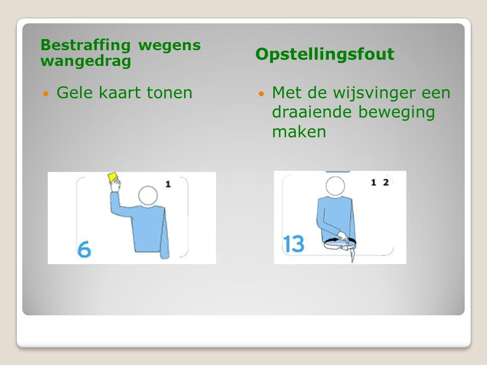 Bestraffing wegens wangedrag Opstellingsfout  Gele kaart tonen  Met de wijsvinger een draaiende beweging maken