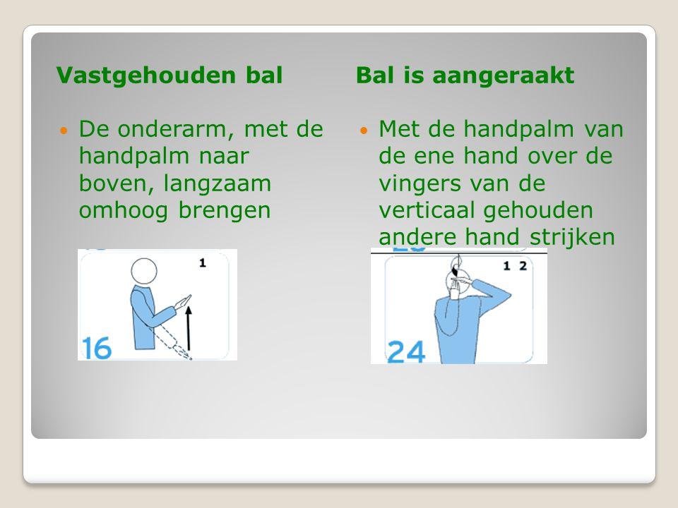 Vastgehouden balBal is aangeraakt  De onderarm, met de handpalm naar boven, langzaam omhoog brengen  Met de handpalm van de ene hand over de vingers van de verticaal gehouden andere hand strijken