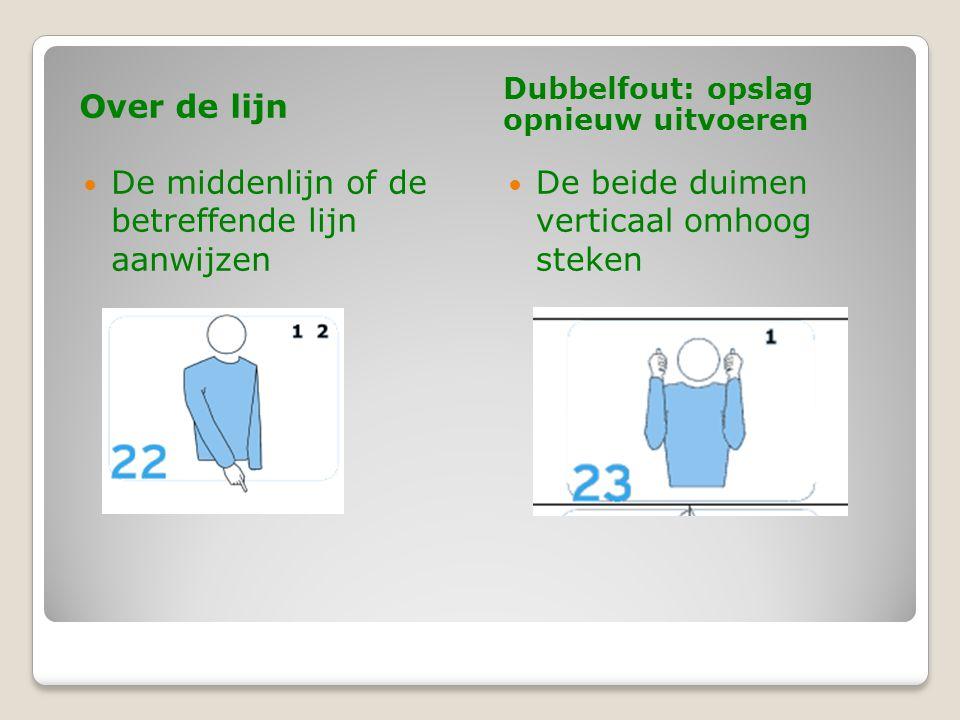 Over de lijn Dubbelfout: opslag opnieuw uitvoeren  De middenlijn of de betreffende lijn aanwijzen  De beide duimen verticaal omhoog steken