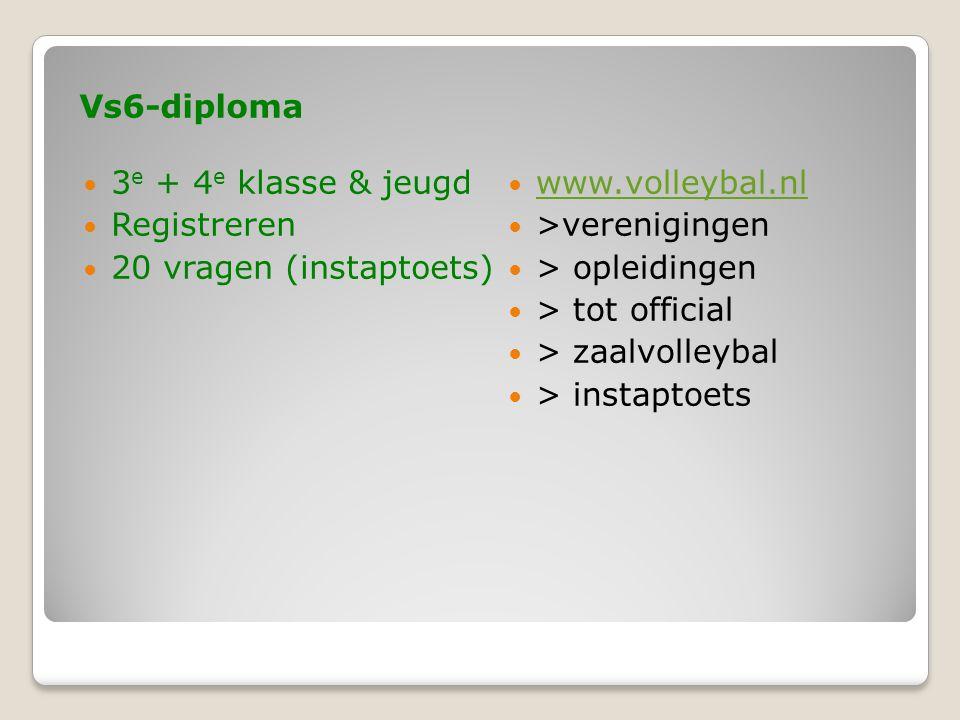 Vs6-diploma  3 e + 4 e klasse & jeugd  Registreren  20 vragen (instaptoets)  www.volleybal.nl www.volleybal.nl  >verenigingen  > opleidingen  > tot official  > zaalvolleybal  > instaptoets