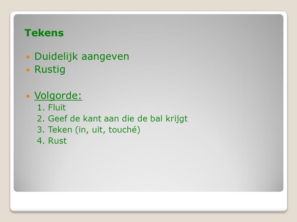 Tekens  Duidelijk aangeven  Rustig  Volgorde: 1. Fluit 2. Geef de kant aan die de bal krijgt 3. Teken (in, uit, touché) 4. Rust