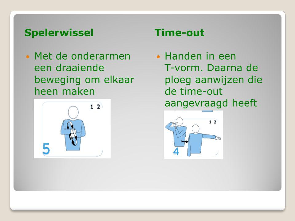 SpelerwisselTime-out  Met de onderarmen een draaiende beweging om elkaar heen maken  Handen in een T-vorm.