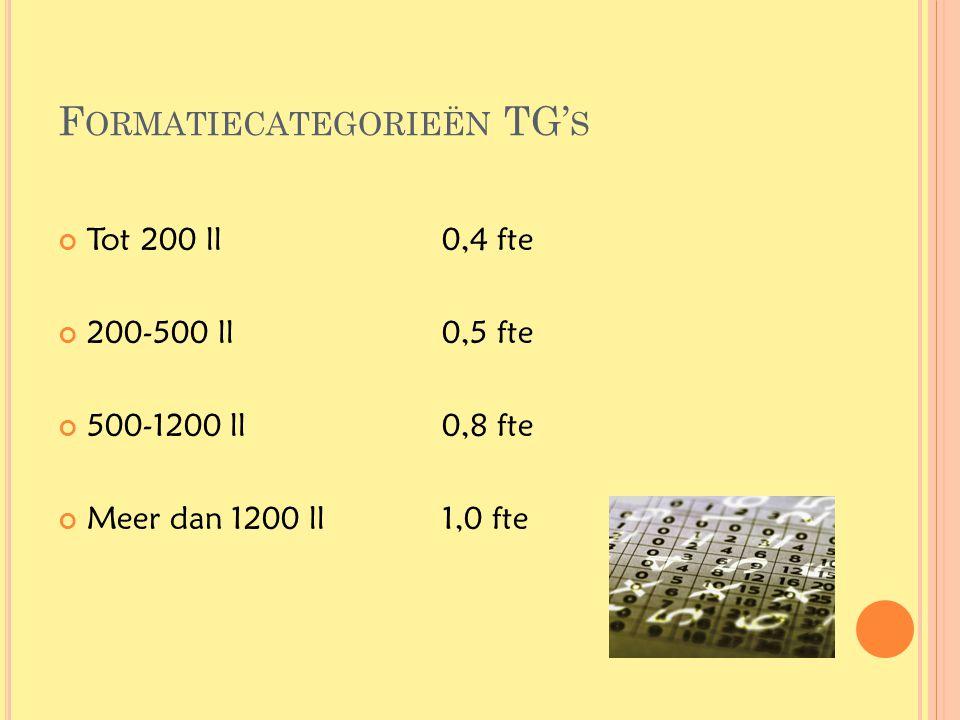 F ORMATIECATEGORIEËN TG' S Tot 200 ll0,4 fte 200-500 ll0,5 fte 500-1200 ll0,8 fte Meer dan 1200 ll1,0 fte