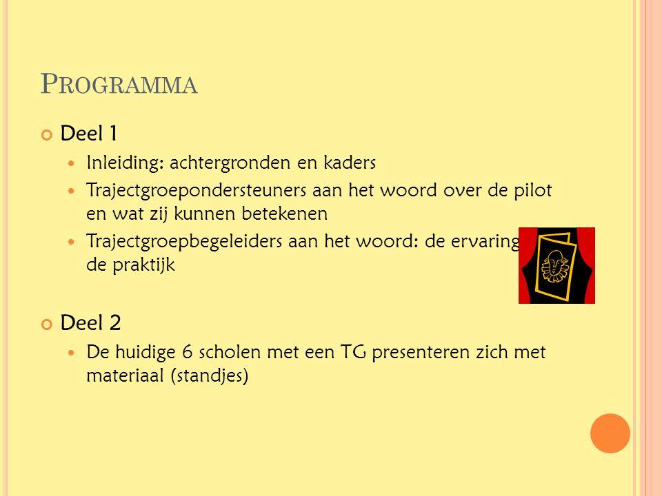 P ROGRAMMA Deel 1  Inleiding: achtergronden en kaders  Trajectgroepondersteuners aan het woord over de pilot en wat zij kunnen betekenen  Trajectgr
