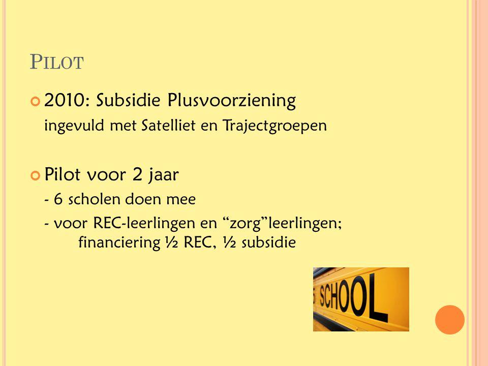 """P ILOT 2010: Subsidie Plusvoorziening ingevuld met Satelliet en Trajectgroepen Pilot voor 2 jaar - 6 scholen doen mee - voor REC-leerlingen en """"zorg""""l"""