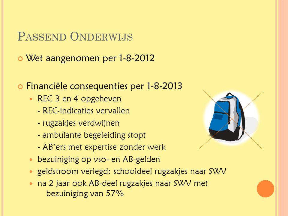 P ASSEND O NDERWIJS Wet aangenomen per 1-8-2012 Financiële consequenties per 1-8-2013  REC 3 en 4 opgeheven - REC-indicaties vervallen - rugzakjes ve