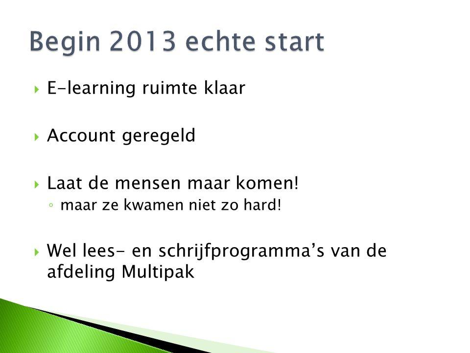  E-learning ruimte klaar  Account geregeld  Laat de mensen maar komen.