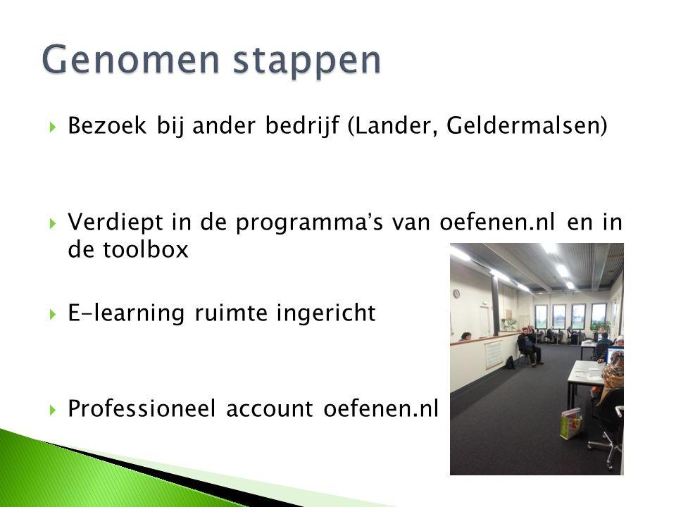  Bezoek bij ander bedrijf (Lander, Geldermalsen)  Verdiept in de programma's van oefenen.nl en in de toolbox  E-learning ruimte ingericht  Professioneel account oefenen.nl