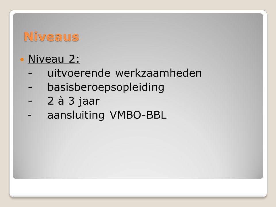 Niveaus  Niveau 2: -uitvoerende werkzaamheden -basisberoepsopleiding -2 à 3 jaar -aansluiting VMBO-BBL