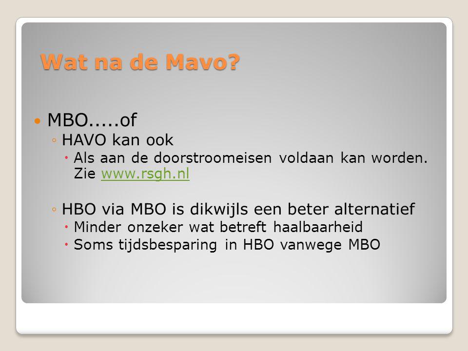 Wat na de Mavo?  MBO.....of ◦HAVO kan ook  Als aan de doorstroomeisen voldaan kan worden. Zie www.rsgh.nlwww.rsgh.nl ◦HBO via MBO is dikwijls een be