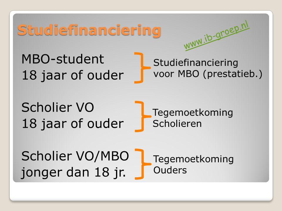 Studiefinanciering MBO-student 18 jaar of ouder Scholier VO 18 jaar of ouder Scholier VO/MBO jonger dan 18 jr. Studiefinanciering voor MBO (prestatieb