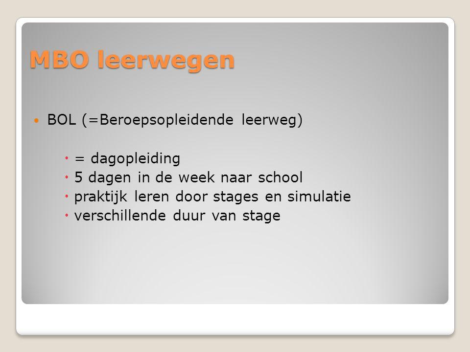 MBO leerwegen  BOL (=Beroepsopleidende leerweg)  = dagopleiding  5 dagen in de week naar school  praktijk leren door stages en simulatie  verschi