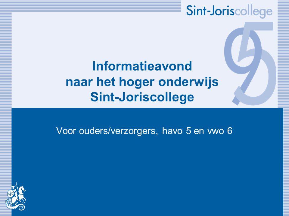 Informatieavond naar het hoger onderwijs Sint-Joriscollege Voor ouders/verzorgers, havo 5 en vwo 6