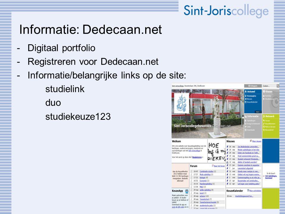 Informatie: Dedecaan.net -Digitaal portfolio -Registreren voor Dedecaan.net -Informatie/belangrijke links op de site: studielink duo studiekeuze123