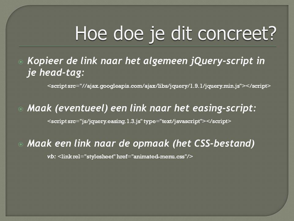  Maak een link naar het specifieke jQuery-script voor jouw animatie (vb: )  Dupliceer de HTML-code  Pas de HTML-code en CSS aan, naar jouw wensen Denk eraan dat de verwijzingen correct moeten zijn.