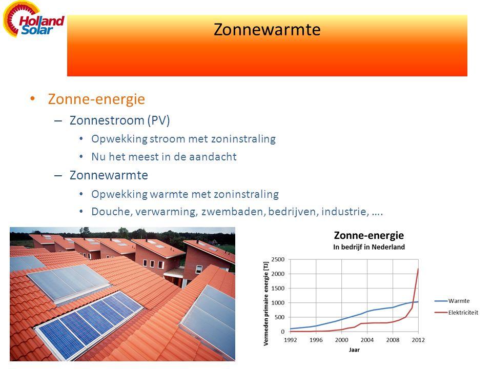 Zonnewarmte • Zonne-energie – Zonnestroom (PV) • Opwekking stroom met zoninstraling • Nu het meest in de aandacht – Zonnewarmte • Opwekking warmte met zoninstraling • Douche, verwarming, zwembaden, bedrijven, industrie, ….