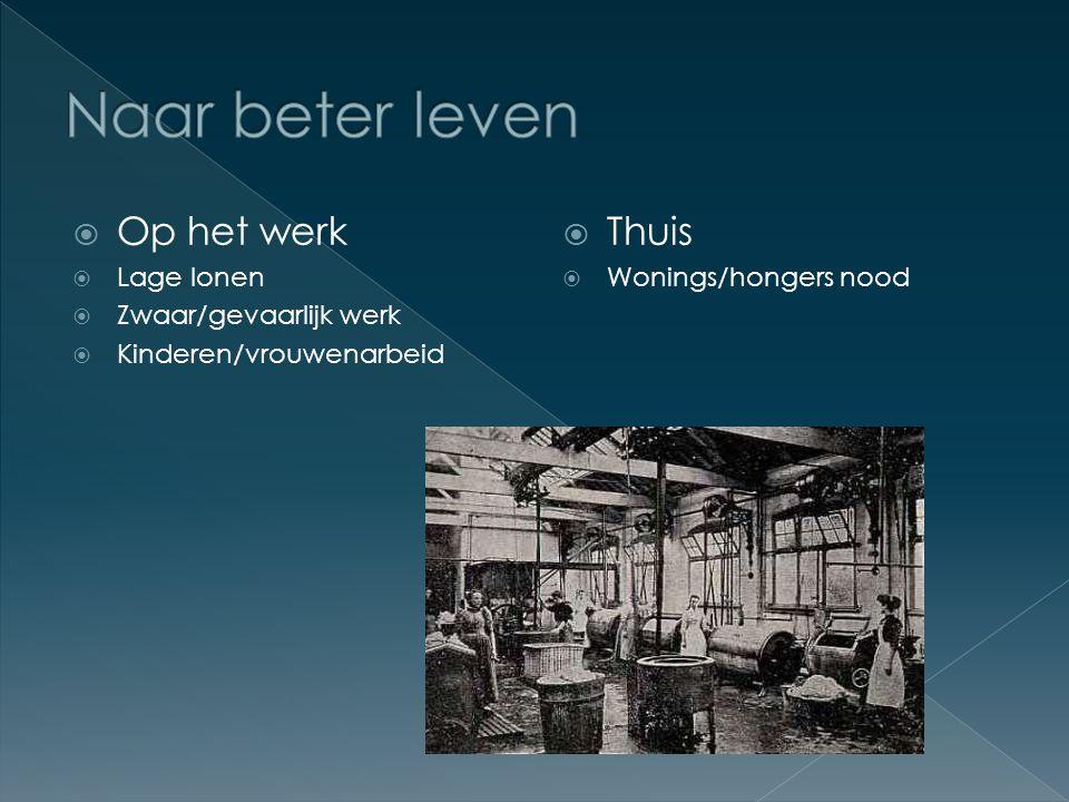  Op het werk  Lage lonen  Zwaar/gevaarlijk werk  Kinderen/vrouwenarbeid  Thuis  Wonings/hongers nood