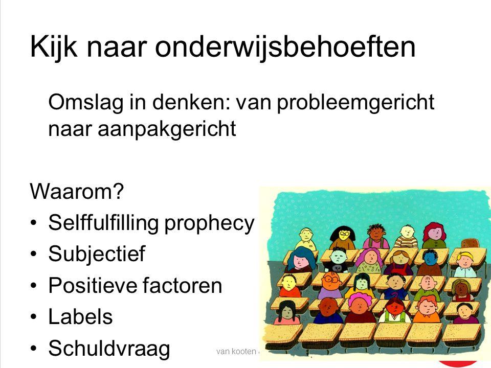 Kijk naar onderwijsbehoeften Omslag in denken: van probleemgericht naar aanpakgericht Waarom? •Selffulfilling prophecy •Subjectief •Positieve factoren