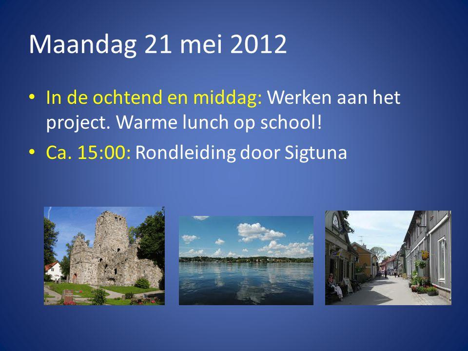 Maandag 21 mei 2012 • In de ochtend en middag: Werken aan het project.