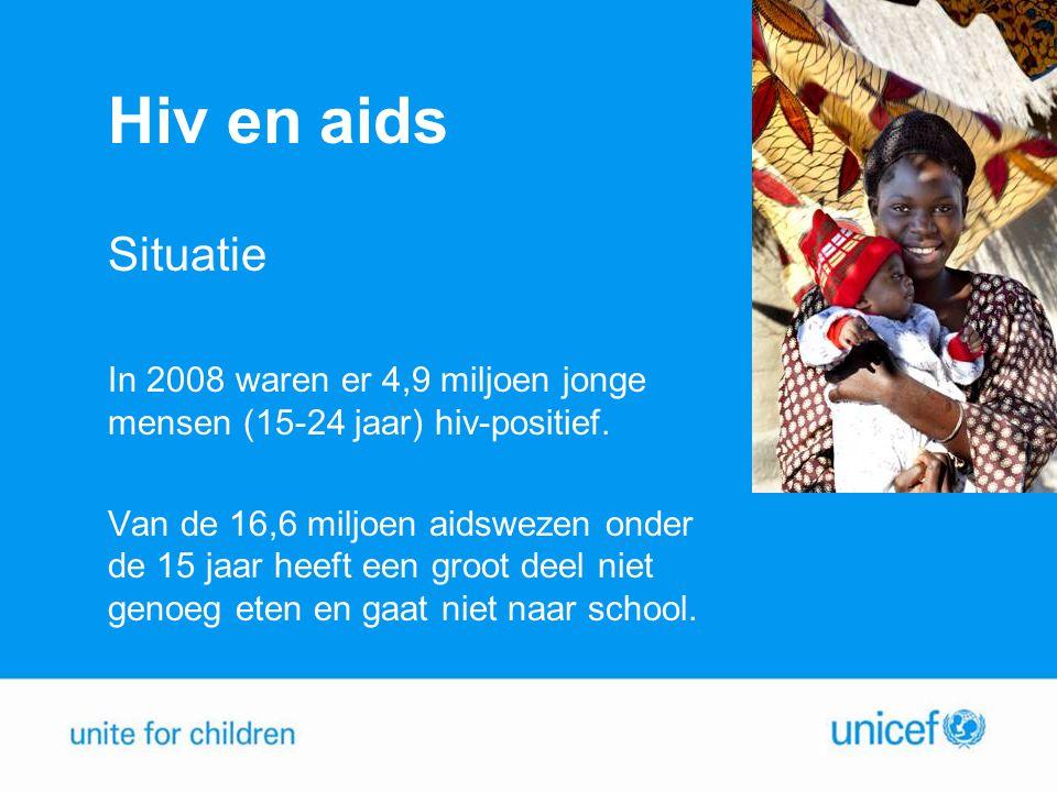 Hiv en aids Situatie In 2008 waren er 4,9 miljoen jonge mensen (15-24 jaar) hiv-positief.