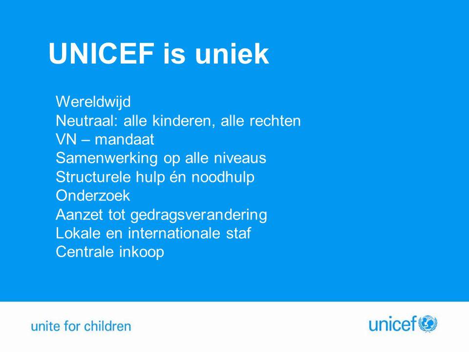 UNICEF is uniek Wereldwijd Neutraal: alle kinderen, alle rechten VN – mandaat Samenwerking op alle niveaus Structurele hulp én noodhulp Onderzoek Aanzet tot gedragsverandering Lokale en internationale staf Centrale inkoop