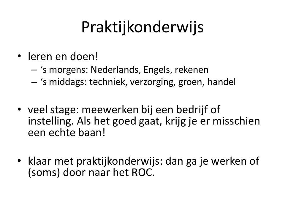• leren en doen! – 's morgens: Nederlands, Engels, rekenen – 's middags: techniek, verzorging, groen, handel • veel stage: meewerken bij een bedrijf o