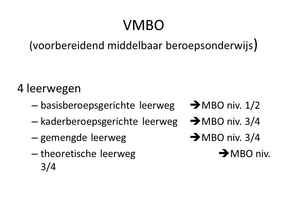 4 leerwegen – basisberoepsgerichte leerweg  MBO niv. 1/2 – kaderberoepsgerichte leerweg  MBO niv. 3/4 – gemengde leerweg  MBO niv. 3/4 – theoretisc
