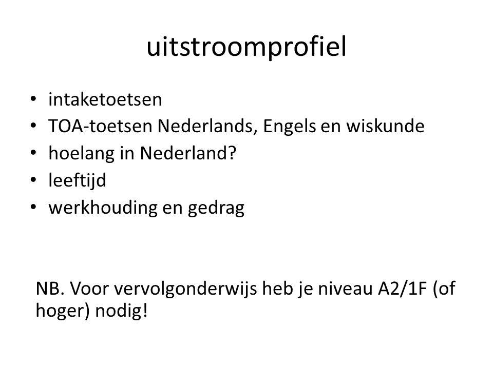 • intaketoetsen • TOA-toetsen Nederlands, Engels en wiskunde • hoelang in Nederland? • leeftijd • werkhouding en gedrag NB. Voor vervolgonderwijs heb