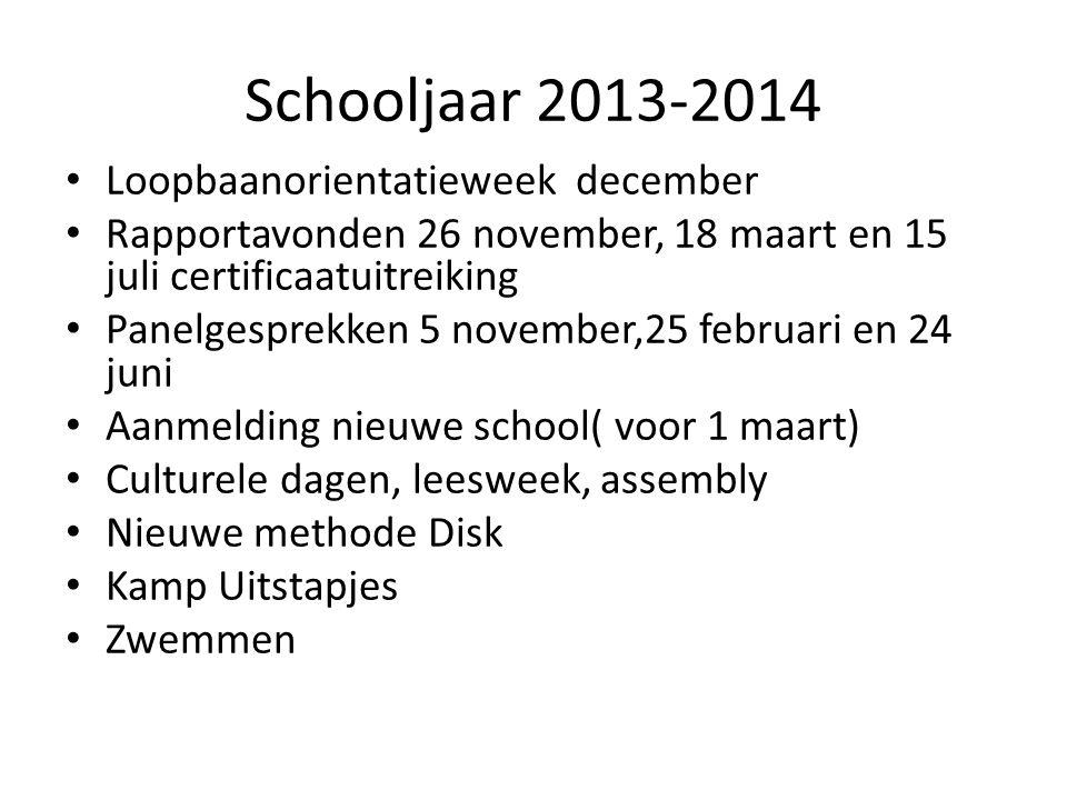 Schooljaar 2013-2014 • Loopbaanorientatieweek december • Rapportavonden 26 november, 18 maart en 15 juli certificaatuitreiking • Panelgesprekken 5 nov