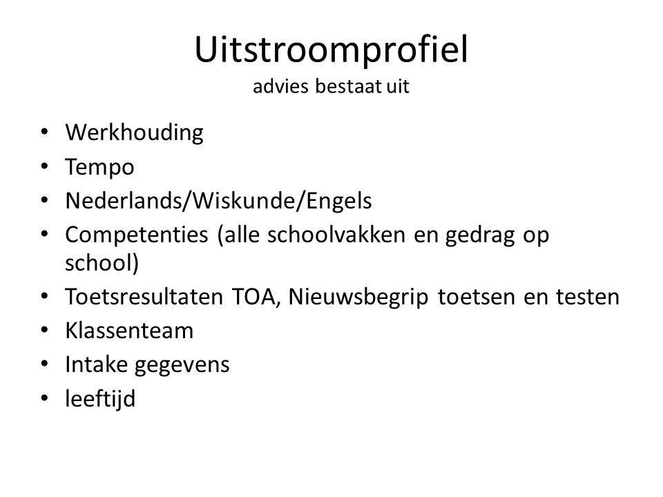 Uitstroomprofiel advies bestaat uit • Werkhouding • Tempo • Nederlands/Wiskunde/Engels • Competenties (alle schoolvakken en gedrag op school) • Toetsr