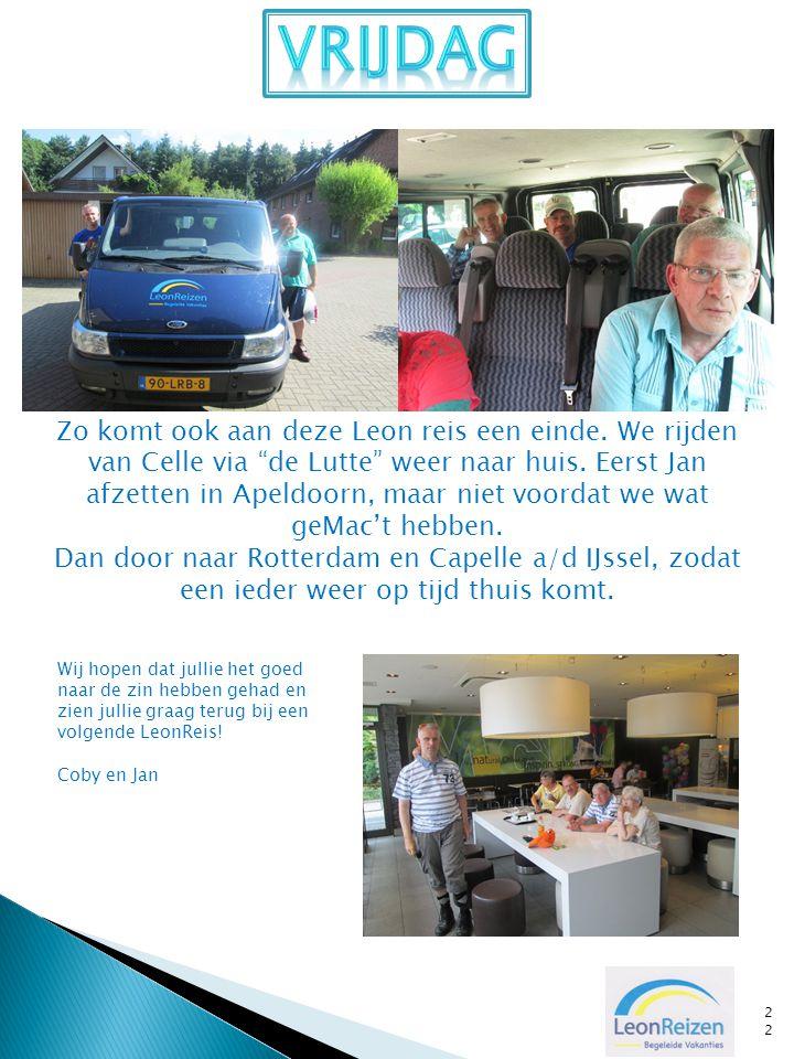 """22 Zo komt ook aan deze Leon reis een einde. We rijden van Celle via """"de Lutte"""" weer naar huis. Eerst Jan afzetten in Apeldoorn, maar niet voordat we"""