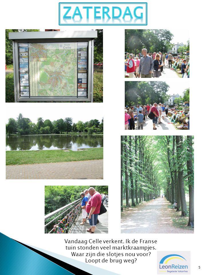 5 Vandaag Celle verkent. Ik de Franse tuin stonden veel marktkraampjes. Waar zijn die slotjes nou voor? Loopt de brug weg?